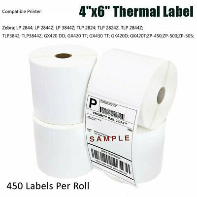 2-40 Rolls 450roll 4x6 Direct Thermal Mailing Labels Zebra Zp450 Eltron 2844 Us