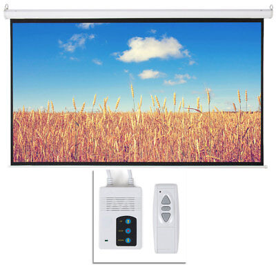 """Easy Install 100"""" 16:9 HD Foldable Electric Motorized Projector Screen + Remote"""