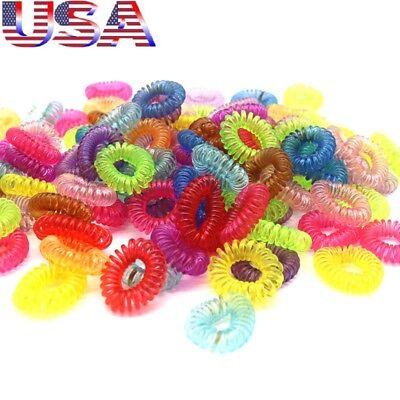 USA 30Pcs Rubber Telephone Wire Hair Ties Spiral Slinky Hair Head Elastic Bands - Slinky Hair Ties