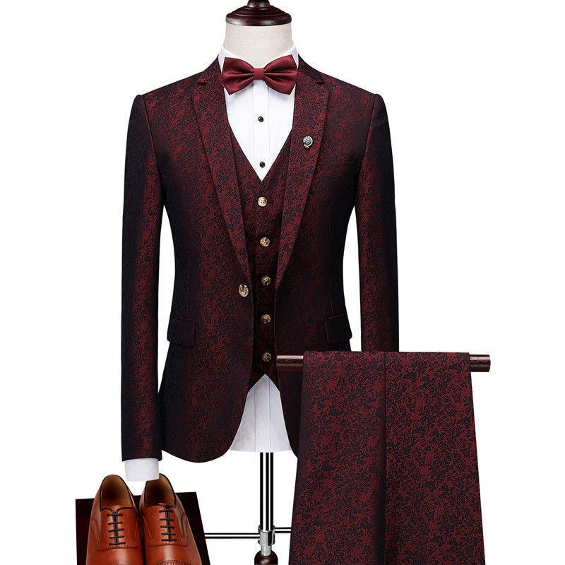 Mode Männer Weinrot 3 Stück Herren Anzüge Paisley Smoking Anzüge Hochzeitsanzug
