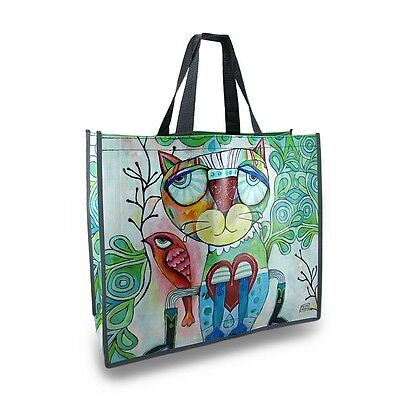 Allen Designs Cat and Bird Artistic Easy To Clean Plastic Reusable Shopper Shopping Bag