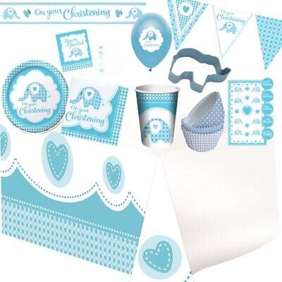 Baby Junge Blau Elefant Taufe Party Geschirr, Dekorationen & Luftballons