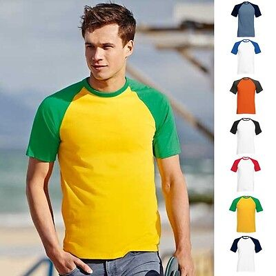 Fruit of the loom Baseball T-Shirt Herren Shortsleeve Kurz Rundhals Mann Kurzarm