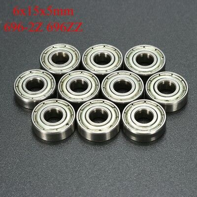 10pc 696-2z 696zz Deep Groove Miniature Ball Bearing 6x15x5mm Metal Mini Bearing
