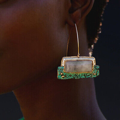 New Natural Stone Pendant Statement Party Dangle Drop Ear Earrings Women Jewelry