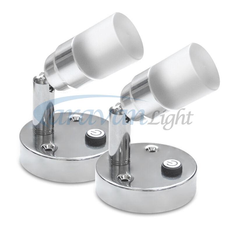 2 x 12v frosted glass led mini spot light reading lamp for 12v table lamp caravan