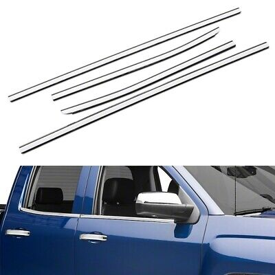 For 2014-2018 Chevy Silverado + GMC Sierra 1500 Double Cab Stainless Window Sill