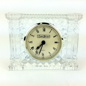 Crystal Mantle Clock Desk Tabletop Clear Glass Charter Collect.