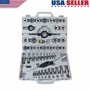 Metric Tap and Die Tool Kit Set HSS 45pc with Case Threader New FREE SHIPPING US