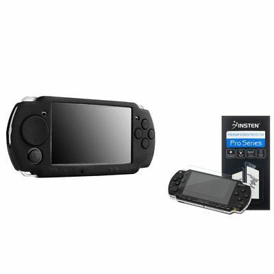 Black Silicone Rubber Skin Cover Case+Screen Guard Protector for SONY PSP 3000