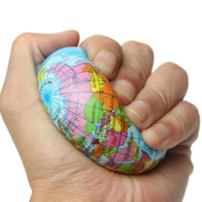 Stress Reliever Toys (Anti-Stress Earth Map Globe Ball Reliever Squeeze Sensory Toys Novelty)