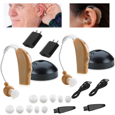 2 Rechargeable Acousticon Behind Ear Hearing Aid Aids Audiphone Sound Amplifier
