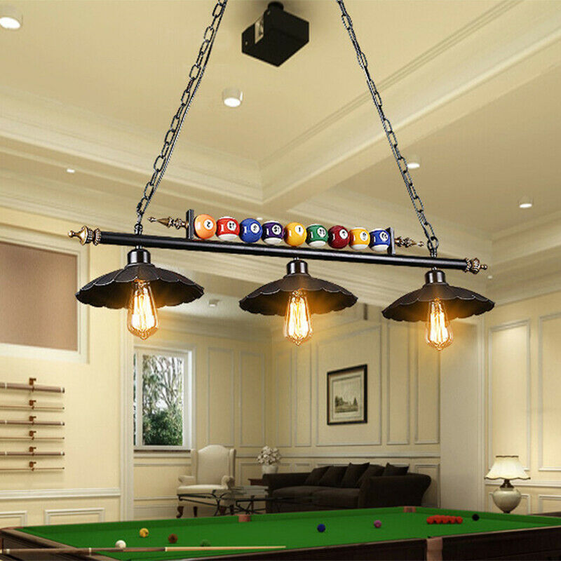 Details About Antique Ball Design Pool Table Light Billiard Lamp With Metal Shades