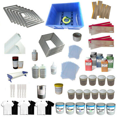 6 Color Screen Printing Materials Kit Washout Tanksqueegee Ink Tools Supply Usa