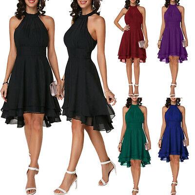 DE Damen Chiffon Sommerkleid Strandkleid Party Ärmellos Cocktailkleid Abendkleid Grün Abend Kleid