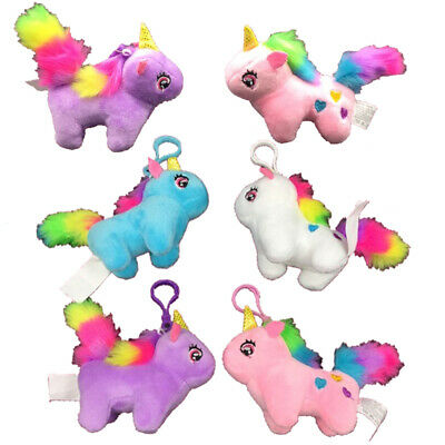12 Unicorn Charms Backpack Keychains Party Favors Plush Cute Gifts Accessories - Plush Party