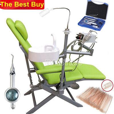 Dental Portable Folding Chairturbine Unit Led Light Handpiece Kit Air Polisher