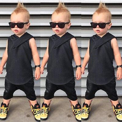 Cotton Cute Kids Baby Boy Vest Tops+Pants Shorts 2PCs Outfits Hooded Clothes Set ()