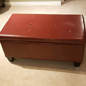Red ottoman/storage bench
