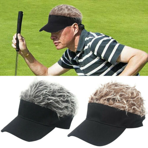 Unisex Men Fashion Flair Hair Sun Visor Cap Novelty Spiked Fake Hair Funny Hat