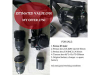 PENTAX K5 + 3 lenses, used, good condition, GREAT BUNDLE PRICE
