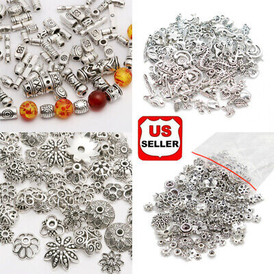 Mixed Titeban Silver Beads Spacer Metal Bead For Jewelry Making DIY Craft  USA