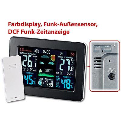 infactory Wetterstation mit Farb-Display, Funk-Außensensor, DCF-Funk-Zeitanzeige