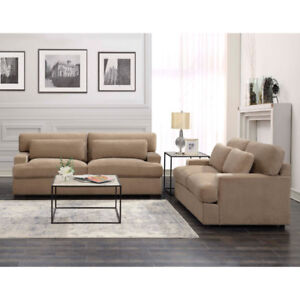 Rodeo Contemporary Polyester Sofa and Love seat set - Sand Brand