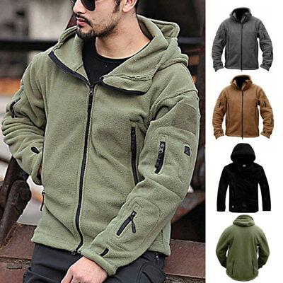 Men's Tactical Military Fleece Hooded Jacket Coat Casual Zipper Hoodies Outwear