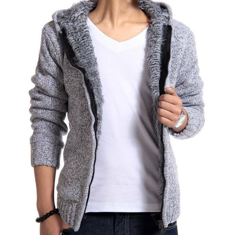 Details about Men Fleece Fur Lined Hoodie Knitted Cardigan Sweater Zip Up Warm Coats Jacket UK