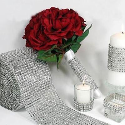 US Crystal Diamond Mesh Wrap Roll Rhinestone Bling Ribbon Wedding Party Decor - Plastic Diamonds