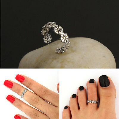 Women's Retro Adjustable 925 Silver Plated Toe Ring Foot Jewelry Beach KZY