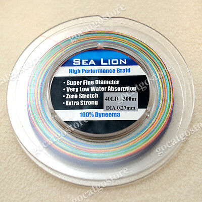 NEW Sea Lion 100% Dyneema Spectra Braid Fishing Line 300M 40LB Multi Color
