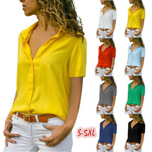 Women Summer V Neck Office T Shirt Solid Casual Loose Blouse Short Sleeve Tops