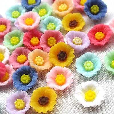 30pcs Flowers Resin Flatback Flat Backs Card Craft Scrapbooking 13mm B0500
