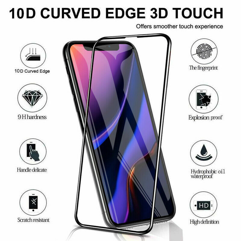 For iPhone 11 Pro Max 2019 10D Full Cover Tempered Glass Screen Protector Film Cell Phone Accessories