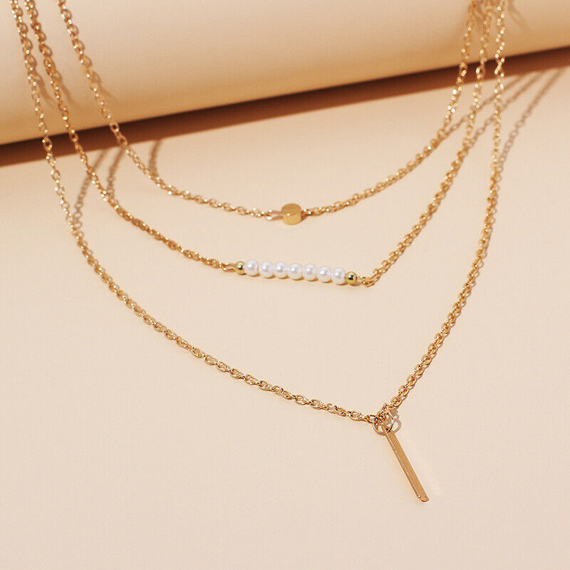14k Gold On Multi-layer Simulated Pearl Pendant Necklace For Women - $0.01