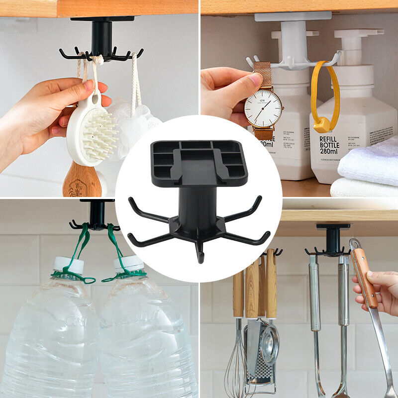 360°Rotating Rack Telescopic Cabinet Hanging Hanger Kitchen Utensil Storage Rack