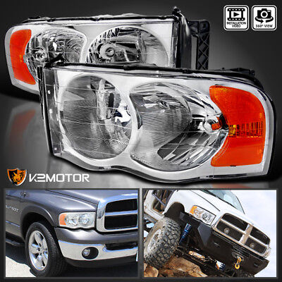 2002 2005 Dodge Ram 150025003500 Crystal Clear Replacement Headlights PAIR
