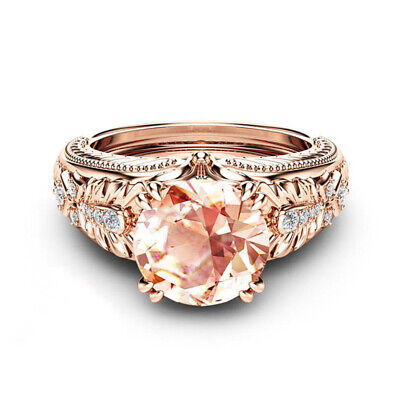 Fashion Women Rings Champagne Topaz 925 Silver Jewelry Wedding Ring Size 6-10 Champagne Stone Ring