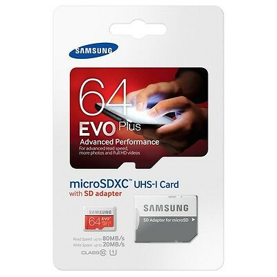 Samsung EVO Plus 64GB Class 10 Micro SD MicroSDXC U1 Memory Card MB-MC128DA/AM