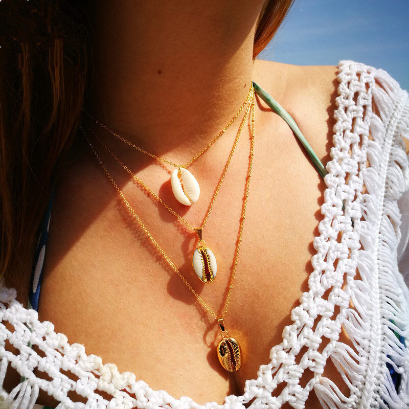 2 Layer Women Boho Simple Gold Chain Shell Pendant Choker Necklace Charm Jewelry