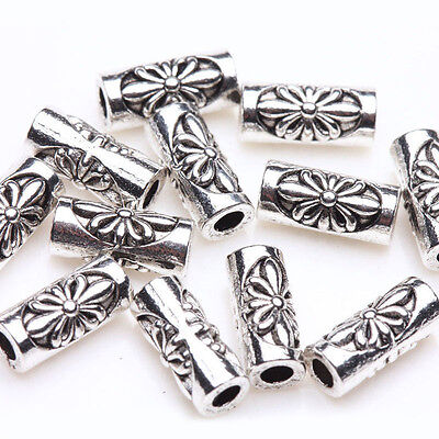 Flower Tube Spacer - 30Pc Tibetan Silver Flower Carving Tube Charm Spacer Beads Jewelry Finding 8x3mm