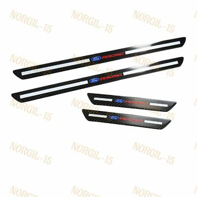 4PCS For Ford Carbon Fiber Door Welcome Plate Sill Scuff Cover Panel Sticker