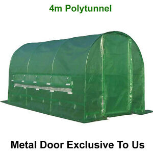 4m x 2m Polytunnel Pollytunnel Polly Tunnel Greenhouse Green House + Metal Door