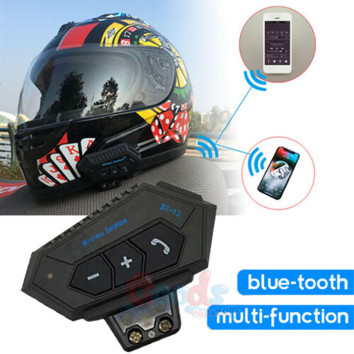 BT12 Motorcycle Helmet Headset Stereo Wireless Bluetooth Motorbike Handsfree