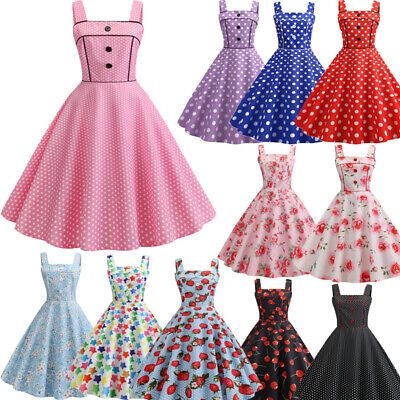 1950s Dresses (Womens 1950s 60s Vintage Rockabilly Evening Prom Swing Party Dress Dresses)