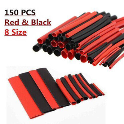 150pcs Red Black 1-14mm 21 Ratio Cable Wire Heat Shrink Wrap Tube Sleeving Kit