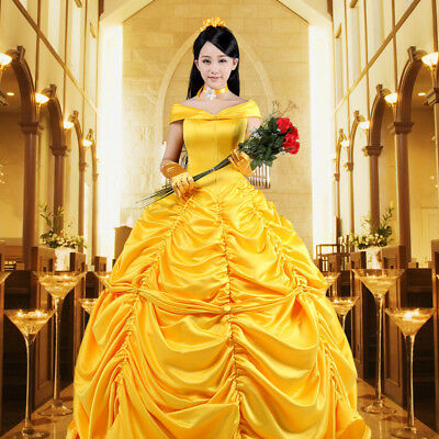 Adult Deluxe Princess Belle Dress Beauty Cosplay Costume Ball Gown Coap Gloves - Adult Belle Costume