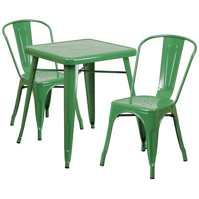 Green Metal Restaurant Table Set With 2 Stack Chairs
